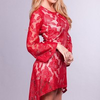 Red Long Sleeve Floral High Low Dress with Scoop Neck