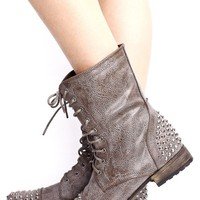 Stone Lace Up Faux Leather Boots with Spike Stud Detail