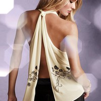 Embellished Open-back Tank