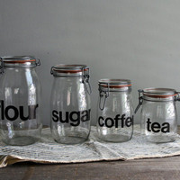 modern glass canister set by everyeskimo on Etsy
