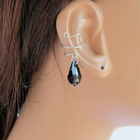 Ear Cuff Sterling Silver Cartilage Choice of Swarovski Baroque Crystals