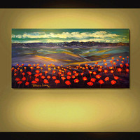 $169.70 ORIGINAL PAINTING Modern Landscape Red by americanartsgallery