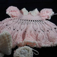 Crocheted Easter Dress wBonnet and Purse