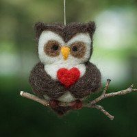 Needle Felted Owl Ornament Valentine Heart by scratchcraft