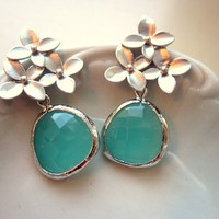 Aqua Blue Earrings Silver Cherry Blossom - Sterling Silver P