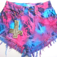 Vtg Neon Tie Dye Cross Studded HIGH WAISTED Cut Off Denim FESTIVAL Shorts XS