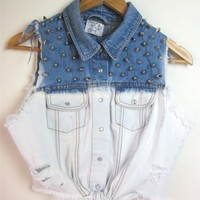 Vtg OMBRE Punk Studded TIE UP Cropped Cut Off Denim Chambray FESTIVAL Shirt S