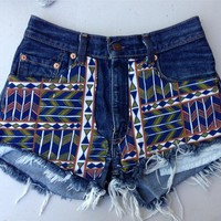 Vintage tribal aztec cone stud MID WAISTED festival Cut Off Denim Shorts