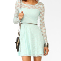 Long Sleeve Lace Skater Dress