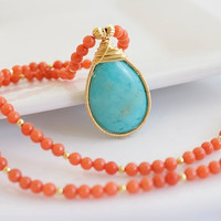 Turquoise and Coral Necklace - Turquoise Pendant - Bezel Set Necklace