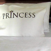 single PRINCE/PRINCESS pillow case,embroidered, unique pillow case