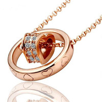 Copper 18k Gold Plated Heart Necklace
