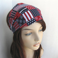 USA Headband America Victory Head Wrap Blue Red White Elastic Bandana