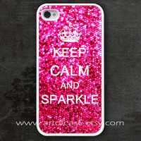 iphone 4 case, iPhone 4s Case, Keep Calm and sparkle Painting white hard case for iphone 4 4s, beautiful free gift box