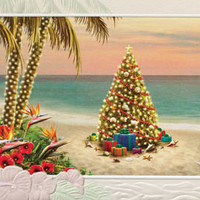 Presents In Paradise Embossed Christmas Cards | OceanStyles.com