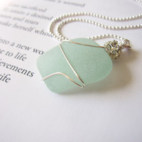 Seafoam seaglass nautical jewelry - Bride's Necklace for beach Wedding - real sea glass wire wrapped - FREE SHIPPING