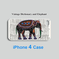 Vintage Dictionary & Elephant--iphone 5 case,iPhone 4 case,Samsung Galaxy S3 case ,personalized phone case