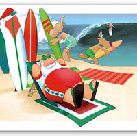 Surfboards and Santa Boxed Christmas Cards | OceanStyles.com