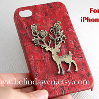 elk iphone 5 case, vintage deer elk charm red wood grain color iPhone 5 case, iPhone 5 Hard Case, iphone case