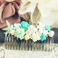 Wedding Hair Comb Bridesmaids Hair Comb Mint Green Aqua Bridal Hair Comb Hair Jewelry Accessories