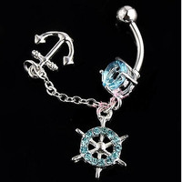 Ship Wheel Anchor Dangle Gem Belly Button Navel Rings Body Piercing Jewelry