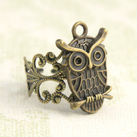 vintage style cute lovely owl adjustable ring by Sevinoma on Etsy