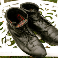 VTG black leather Danexx  granny grunge ankle boots size 8