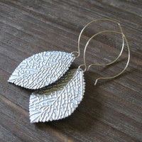 Attia Earrings - Metallic Textured Silver Metal Leaf Leaves Charms on Sterling Silver Ear Wires - Nature Woodland Vintage Rustic Gift