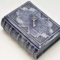 Blue key leather  journal vintage style, 4x6 inch (10x15 cm) in gift box