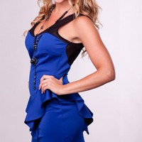 Blue Sweetheart Peplum Dress with Black Mesh Detail
