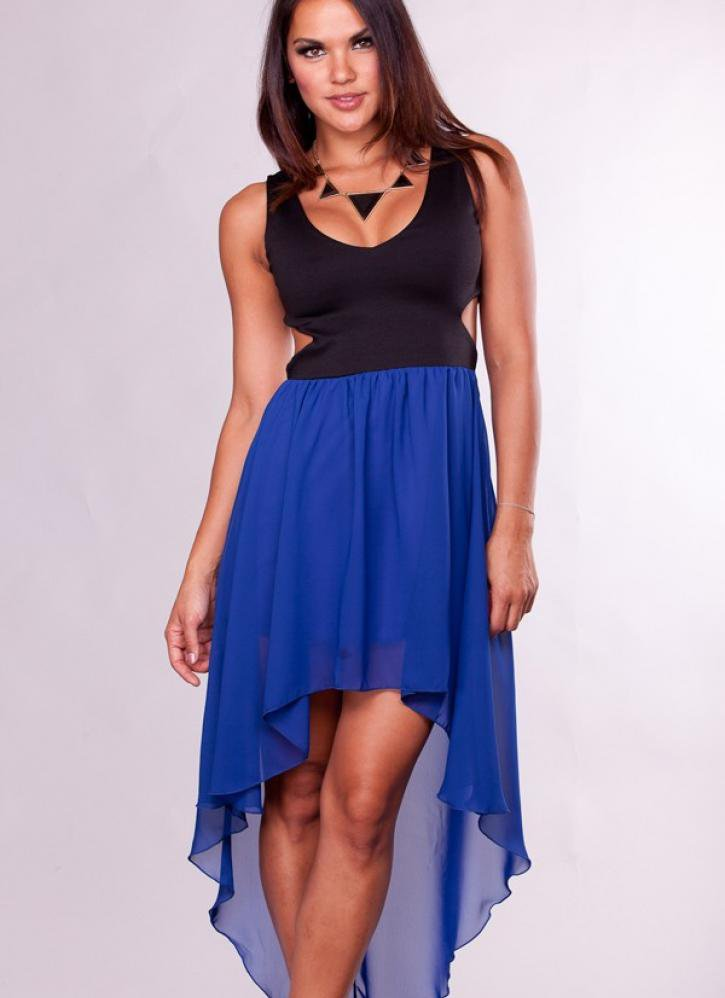 blue and black high low dress with cutout from ustrendy