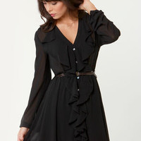 Thinking About You Belted Black Dress