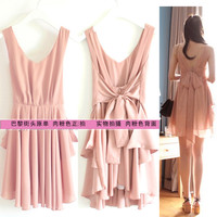 Sexy Korea Womens Back Bow-Knot Bandage Halter Summer Dress 6117#