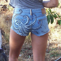 Octopus Tribal Design Upcycled Denim Shorts