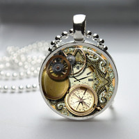 Photo Art Glass Bezel Pendant Steampunk Necklace