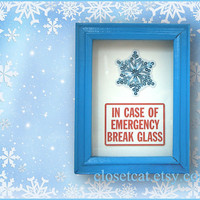Snow Gift - Emergency Case - Christmas Decor, Christmas Gift, Blue White Christmas, Rusteam, Snowflake Ornament, Xmas Stocking stuffer