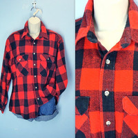 70s Flannel Shirt / Vintage Lumberjack Plaid Jacket Shirt