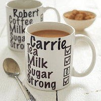 personalised milk and two sugars mug by disco butterfly | notonthehighstreet.com