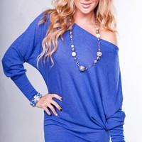 Blue Sweater Tunic with Wide Neckline