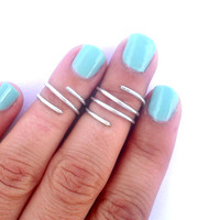 2 Wire Wrapped Above Knuckle Ring -  Above the Knuckle Rings -  Simple Silver Wrap Ring- Set of 2 by Tiny Box