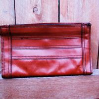 vintage leather cognac clutch. ereader pouch. ipad case. fall fashion. slim profile clutch. pencil case