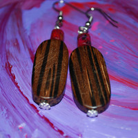 Burgundy Wine and dark wood beaded dangling earrings, boho earrings, ooak handmade earrings