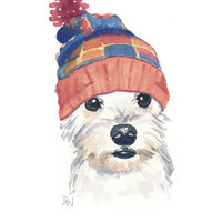 Original Dog Watercolor Painting - Dog Illustration, Snoodle, Knit Toque, Nursery Art, 8x10 painting