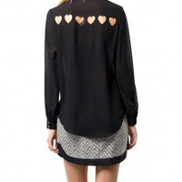 CROSS YOUR HEART BLOUSE - BLACK - WOMEN'S
