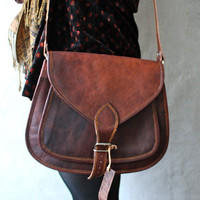 Leather Cross body messenger bag Leather purse