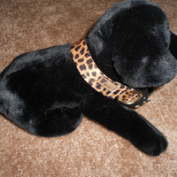 Dog Collar: Adjustable, 1 inch wide, Leopard, size Large