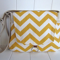 Ivy - Yellow/natural Chevron messenger bag/spring/summer/ipad messenger bag