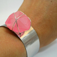 HOT PINK Kryptonite Cuff Boho Chic Glow in the Dark by MerCurios