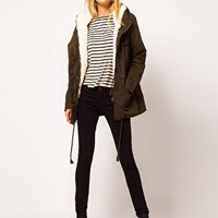 Mango Hooded Parka With Detachable Lining at asos.com