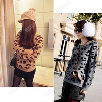 Hot Sale Women Retro Leopard Print Sweater Crew Neck Knitwear Jumper Pullover
